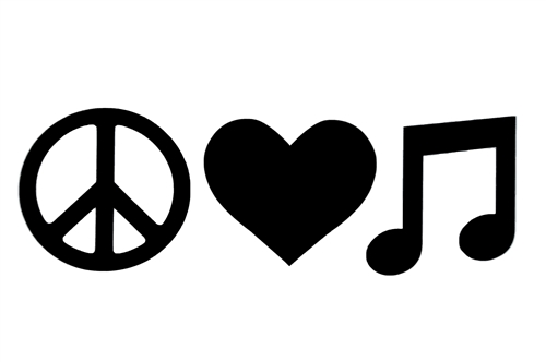 Laptop Decals-Peace, Love, Music