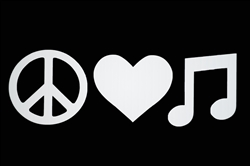 Laptop Decals-Music-Peace, Love, Music