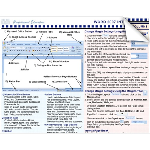 Microsoft Word 2007 Introduction Tip Tips Tricks Cheat Sheet Learn
